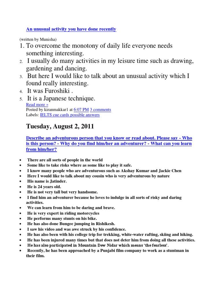 my favourite leisure activity essay