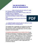 Evitarea Conflictelor in Organizatie