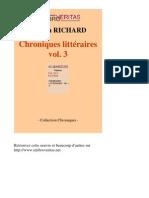 30757-SYLVAIN RICHARD-Chroniques Litteraires Vol 3-[InLibroVeritas.net]