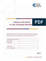 Teacher Education Entry to Teaching Profile