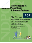 The Effects of Cognitive - Behavioral Interventions on Dropout for Youth with Disabilities