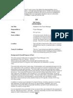 Assistant to Project Manager 2009 Job Description