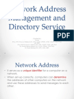 Network Address Management and Directory Service