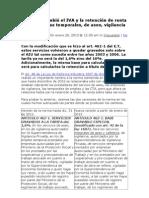 Ley 1607 cambió el IVA y la retención de renta para empresas temporales