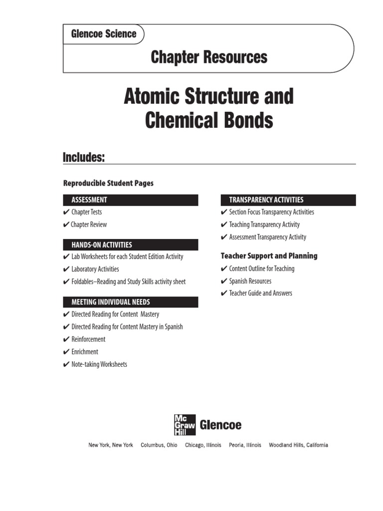 Overview Chemical Bonds Worksheet Answers: Atomic Structure & Chemical Bonds   Atoms,