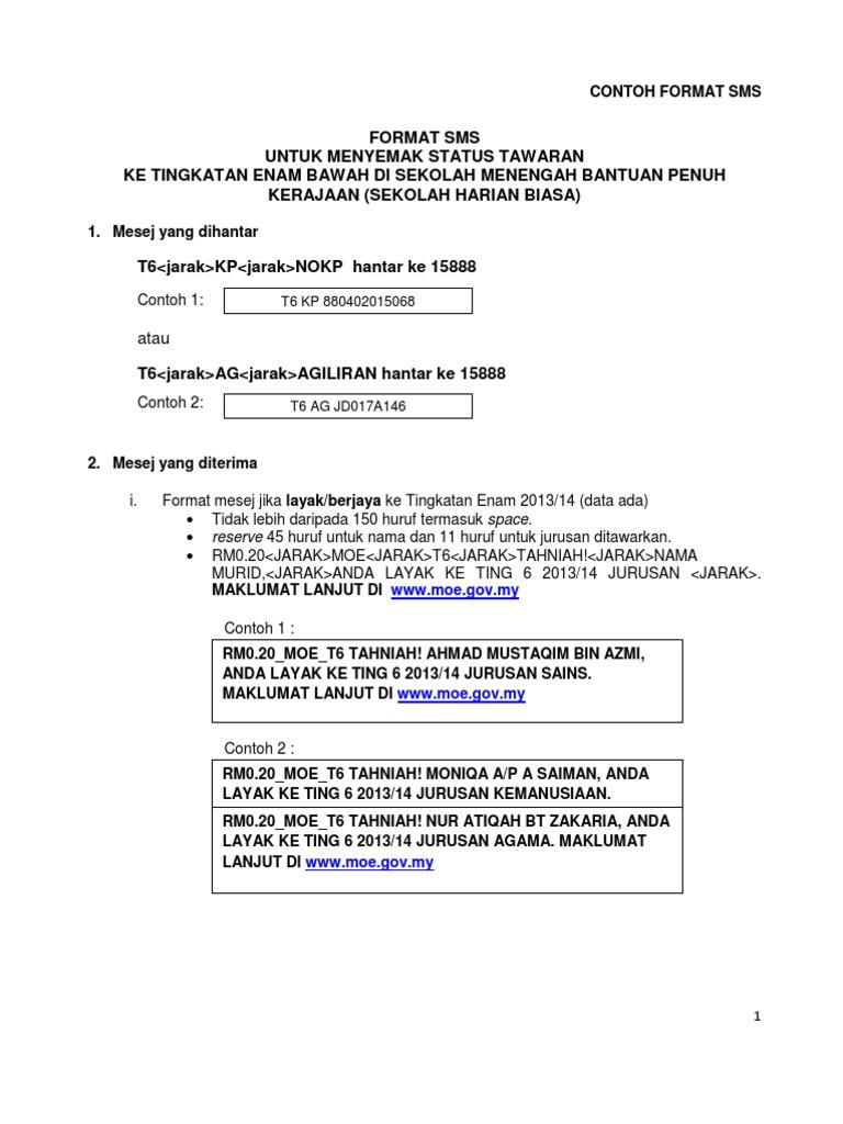 Garis Panduan Kemasukan Tingkatan 6 Bawah 2013 Borang