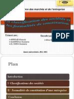 exposé _ la classification des sociétés et les formalités de constitution