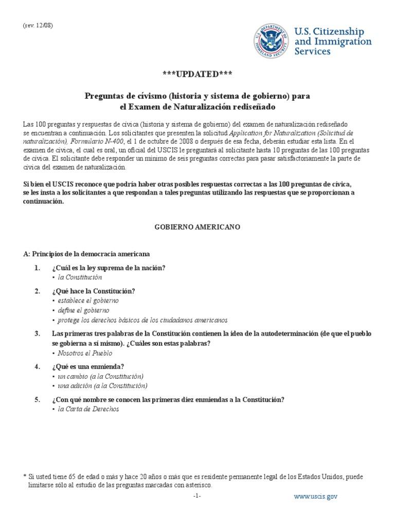 Citizenship Questions Spanish Nuevo Examen De Ciudadania Congreso De Los Estados Unidos Gobierno Americano
