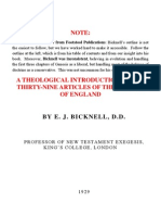A THEOLOGICAL INTRODUCTION TO THE THIRTY-NINE ARTICLES OF THE CHURCH OF ENGLAND BY E. J. BICKNELL, D.D.