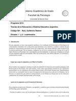 Programa Teorías de la educación y Sistema Educativo Argentino