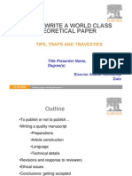 How to Write a World Class Paper (THEORETICAL)