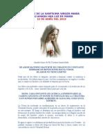 MENSAJE DE LA SANTÍSIMA VIRGEN MARÍA 12 abril 2013