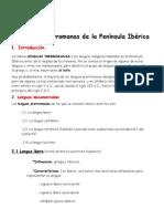 Esquema de Las Lenguas Prerromanas en La P.iberica