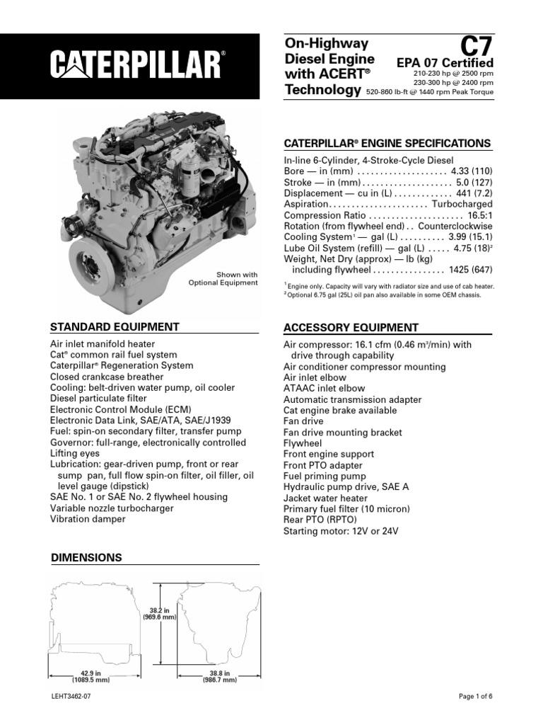 Caterpillar C7 Engine Specs Horsepower Engines