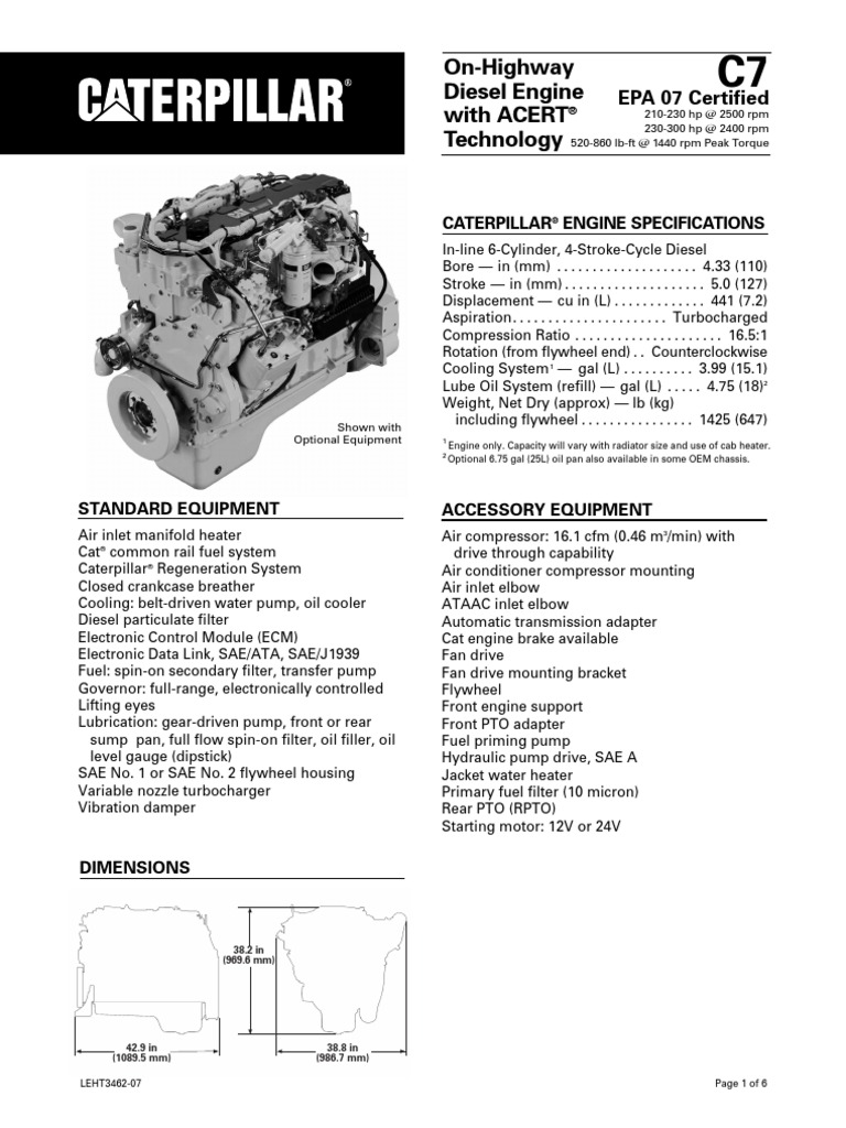 Caterpillar C7 Engine Specs   Horsepower   Motor OilScribd