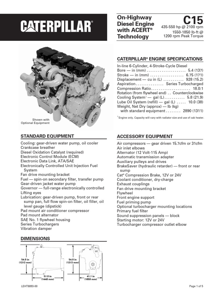 Caterpillar c15 engine specs horsepower torque for 15 hp motor weight