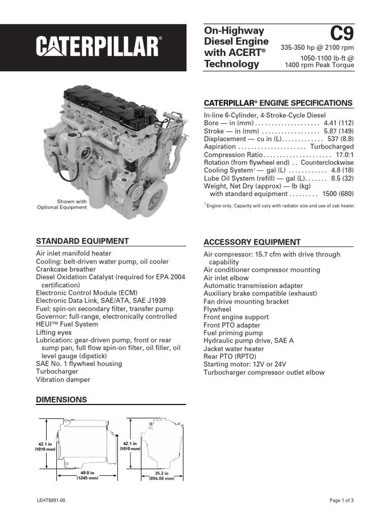 Caterpillar C9 Engine Specs   Horsepower   Transmission (Mechanics)Scribd
