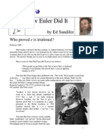 How Euler Did It 28 e is Irrational