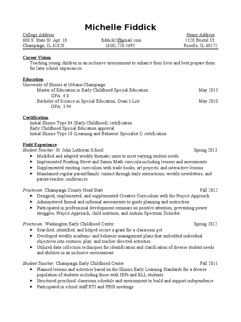 Resume w honors special education early childhood education 1betcityfo Gallery