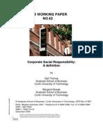 93916841 GSB Working Paper No 62 Corp Social Resp a Definition Thomas Nowak