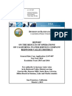 DRA Report on Cal Water Redwood District Rate Case