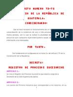 REGISTRO DE PROCESOS SUCESORIOS DECRETO NUMERO 73-75