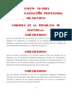 Ley de Colegiacion Profesional DECRETO 72-2001