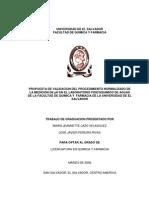Propuesta de Validacion Del Procedimiento Normalizado de La Medicion de Ph en El Laboratorio Fisicoquimico de Aguas de La Facultad de Quimica y Farmacia de La Universidad de El Salvador