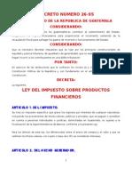 Ley de Impuesto Sobre Productos Financieros DECRETO 26-95