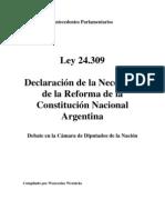 Ley 24309. Debate en Diputados Reforma Constitucional. Argentina