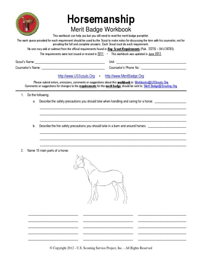 Horsemanship Merit Badge Worksheet | Boy Scouts Of America | Scouting