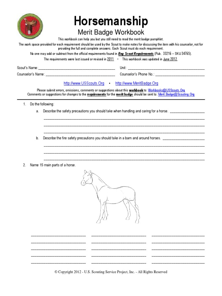 Horsemanship Merit Badge Worksheet   Boy Scouts Of America   Scouting