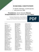 Reforma Constitucional de 1994. Argentina. Debate del 6 de junio de 1994