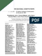 Reforma Constitucional de 1994. Argentina. Debate del 20 de julio de 1994