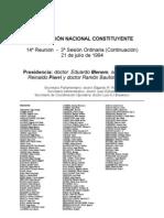 Reforma Constitucional de 1994. Argentina. Debate del 21 de julio de 1994