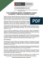 """PLAN """"CUADRANTE SEGURO"""" CONTRIBUIRÁ A ACABAR CON MAFIAS Y TRÁFICO DEL SERVICIO POLICIAL"""