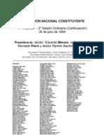 Reforma Constitucional de 1994. Argentina. Debate del 26 de julio de 1994