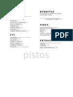 Pisto's Tacos opening menu