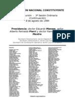 Reforma Constitucional de 1994. Argentina. Debate del 8 de agosto de 1994