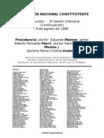 Reforma Constitucional de 1994. Argentina. Debate del 9 de agosto de 1994