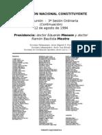 Reforma Constitucional de 1994. Argentina. Debate del 12 de agosto de 1994