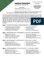 Computer Essentials - General Outline - 2013