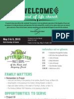 Church Bulletin for May 3 & 5, 2013