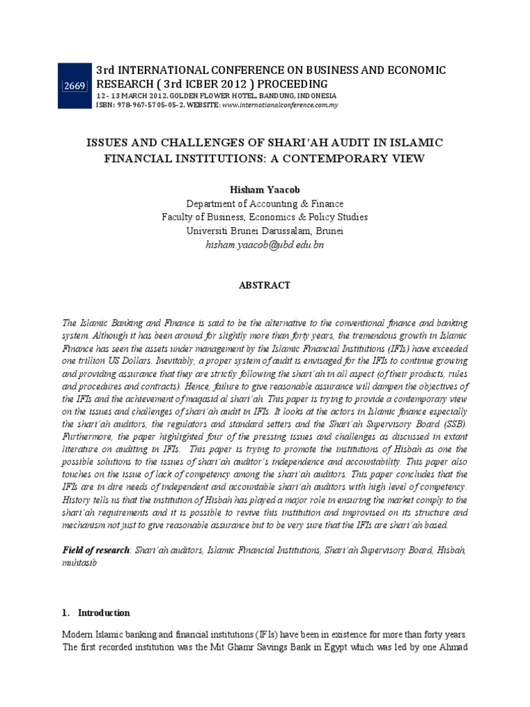 ISSUES AND CHALLENGES OF SHARI'AH AUDIT IN ISLAMIC FINANCIAL