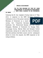 Press Statement- Nrm and Speaker decision on rebel MPs
