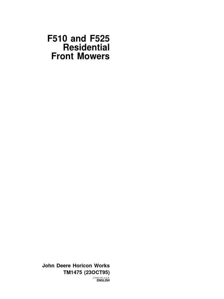 John Deere F510 Starter Wiring Diagram Free For You 9108474 F525 Residential Front Mower Service Repair Rh Scribd Com Parts Illustration