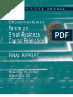 SEC Government-- Business Forumm Onn Smalll Businesss Capitall Formationn FINAL REPORT