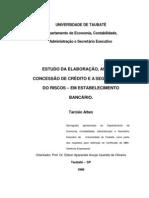 Estudo elaboração, analise, concessão de credito e segmentação de risco em estab. bancarios