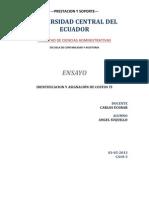 IDENTIFICACIÓN Y ASIGNACION DE COSTOS AUDITORIA DE SISTEMAS