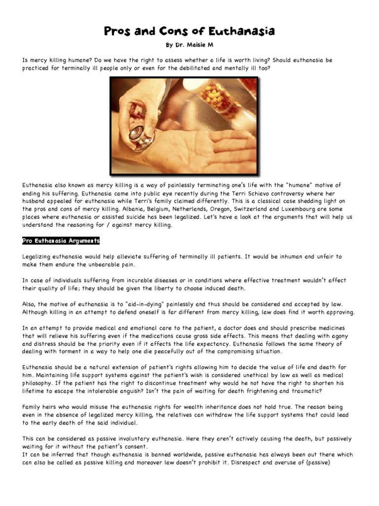 euthanasia com pros and cons